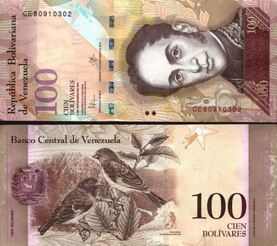 ~ Wenezuela 100 Bolivares Fuerte P-93g 2015 PIĘKNY