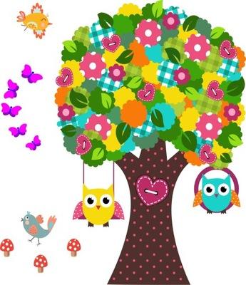 samolepky na stenu pre deti stromové sovy