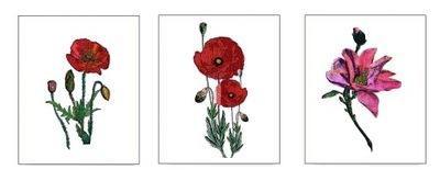 3 ПЛАКАТЫ А3 скандинавский цветы МАКИ ФОЛК