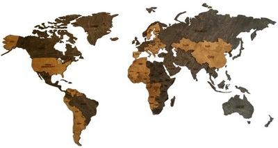 Mapa sveta na steny 16 mm drevo 125x62cm strom