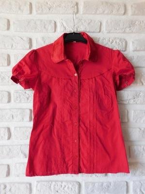 jedwabna Bershka koszula 38 M czerwona bawełniana