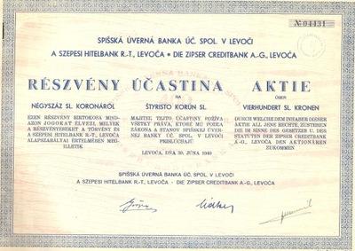 RRR!ЗАГОВОРЫ БАНК КРЕДИТНЫЙ! ЛЕВОЧА-Словакия ! 1940!