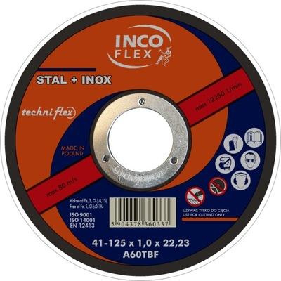 Štít rezanie nehrdzavejúcej ocele 125x1 INCO FLEX kovové