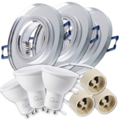Bodové svetlá, bodové osvetlenie - Zestaw 3x oprawa halogenowa SZKLANA + LED GU10 6W