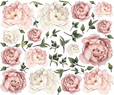 PIWONIE kwiaty PEONIE naklejki NA ŚCIANĘ 120cm XXL