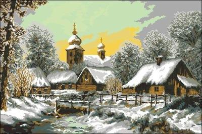 KANWA HAFT 75x50 WIOSKA ZIMĄ - 9212 - z muliną