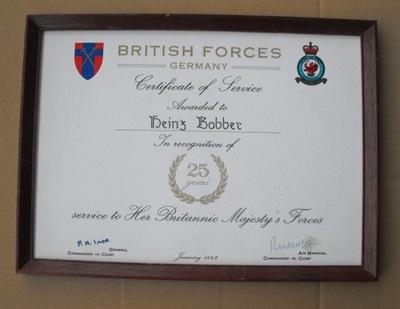 Диплом - British Forces Germany