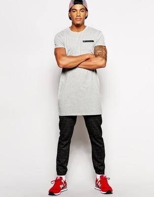 ASOS długi szary męski t-shirt skater z zamkiem S