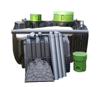 Pár dve komory odpadových vôd 3000 L 6 os 10 tunely