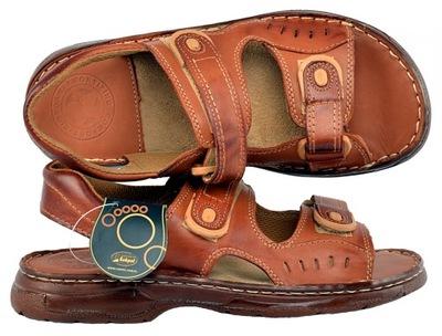 Męskie skórzane brązowe sandały rozm.46 (BL503 2) 7375145985