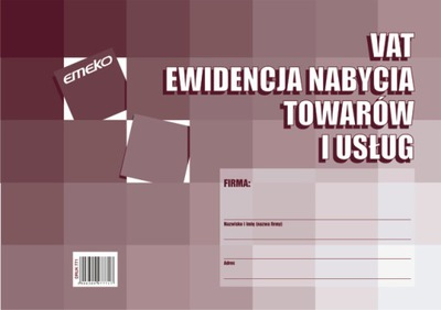 EWIDENCJA NABYCIA towarów i usług VAT A4 Emeko 771