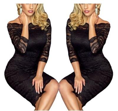 Sukienka koronkowa koktajlowa czarna 61291 tu 50