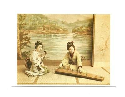 Открытка - Давно Япония - muzykujące гейши ...