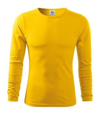 Gładka koszulka long-sleeve Fit - L / żółty