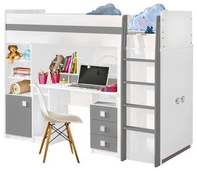 кровать двухъярусная кровать с рабочий стол шкаф стеллаж UNO Белый