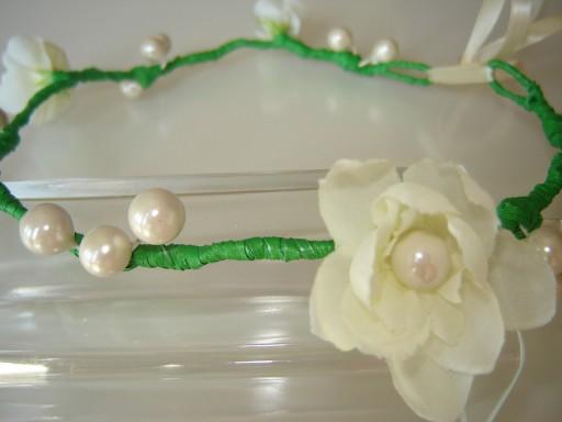 kwiaty diadem opaska wianek komunia perełki perły