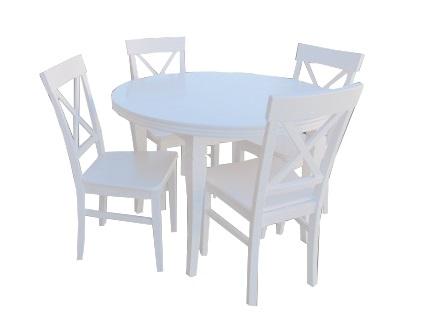 Biały Okrągły Rozkładany Stół 10040 4 Krzesła