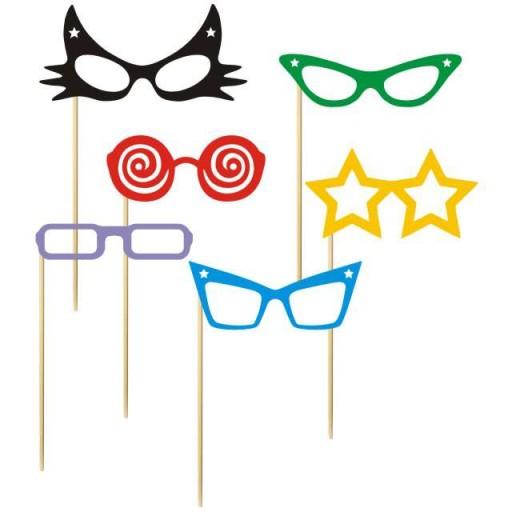 śmieszne okulary FOTOGADŻETY do ZDJĘĆ mix 6 szt