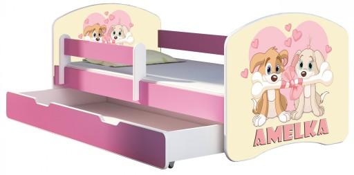 Łóżko dziecięce 160x80 szuflada materac RÓŻ ACMA