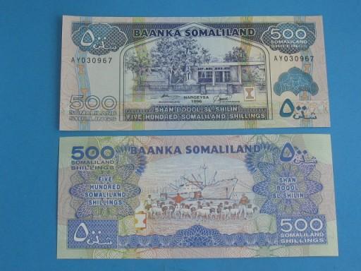 Banknot Somaliland 500 Shillings 1996 !! P-6b UNC