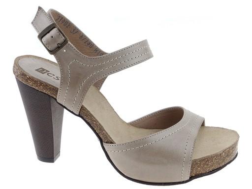 b1d8ba9c11546 Nessi buty sandały słupek 31902 beż skóra 38 6867468456 - Allegro.pl