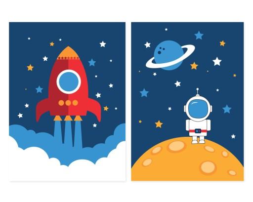 Plakaty Grafiki Kosmos Rakieta Astronauta 2xa3