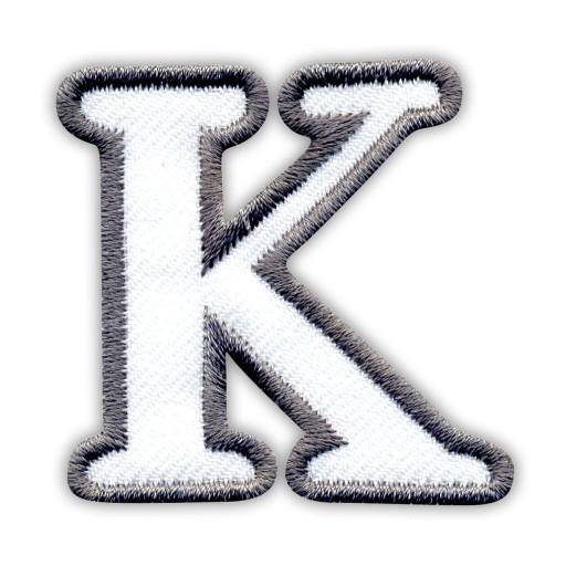 Naszywka Litera Literka K Biało Szara Haft 7213328682 Allegropl
