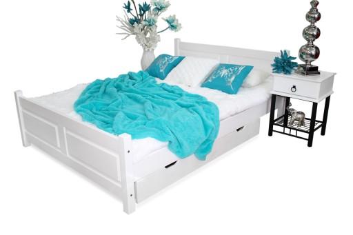 łóżko Lena Białe 160x200 Stelaż Sypialnia 100