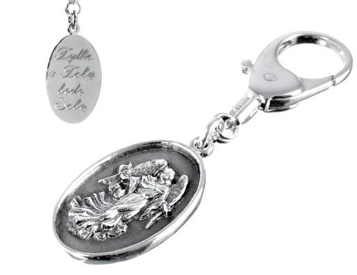 Brelok srebrny do kluczy Anioł Stróż z grawerem