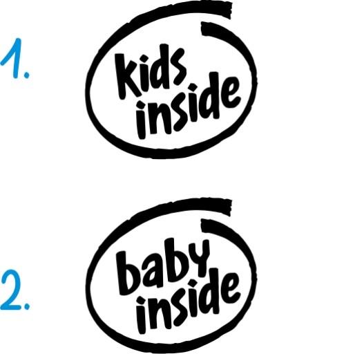 Naklejka na auto KIDS INSIDE dzieci w aucie baby