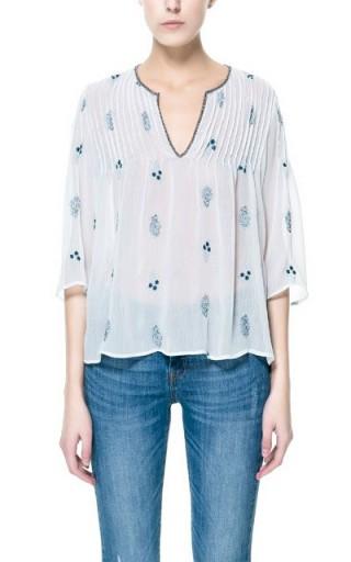 ZARA szyfonowa bluzka z haftem XS 34 NOWA