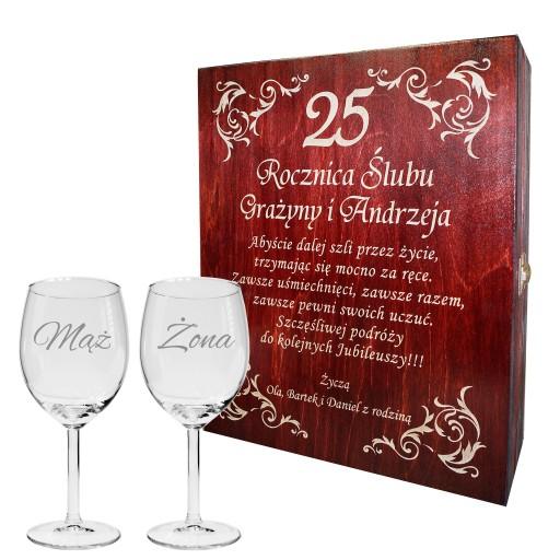 Prezent ślub Skrzynka Na Wino Rocznica Grawer 6722061403 Allegropl
