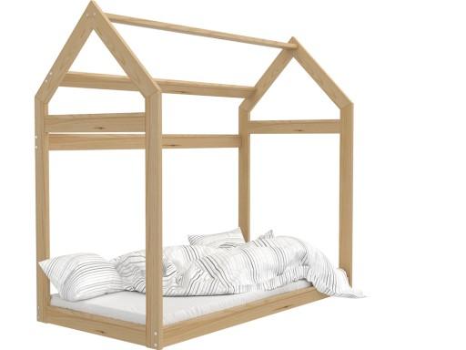 Łóżko drewniane DOMEK 160x80 + materac 154 cm
