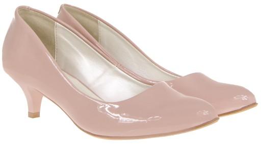 szpilki pudrowy roz lakierki platforma pink pudrowy roz w