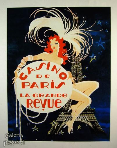 Casino Paris Tancerka Duży Plakat Retro Szyld