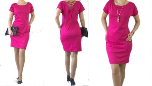 Elegancka Sukienka Fuksja Wiazanie Tu R36 36 56 7423535164 Allegro Pl
