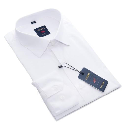 KNKK Koszula Męska BIAŁA DŁUGI SLIM 4344 Jakość  5sEnl