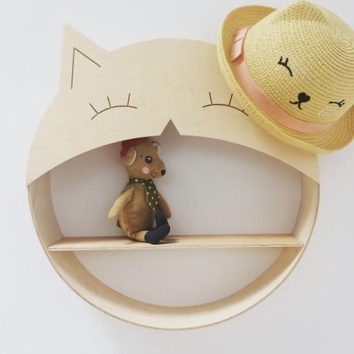 Półka okrągła ozdobna dla dzieci Księżyc Kotek