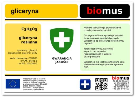 GLICERYNA roślinna 1kg  BIOMUS 1000gr