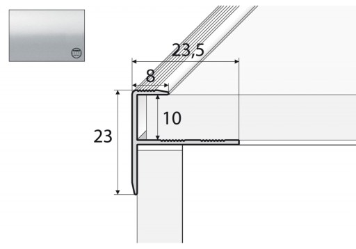 Profil schodowy do glazury A85 - 100cm SREBRO