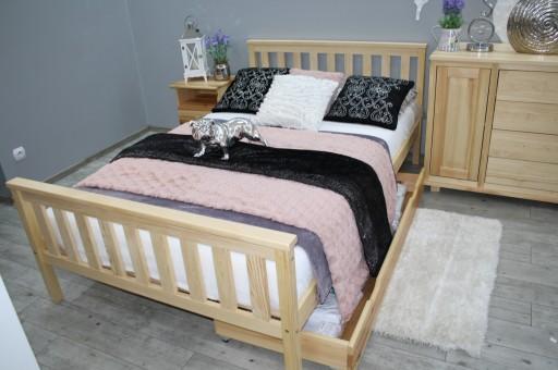 łóżko Drewniane Sosnowe Iza140x200stelaż Sypialni