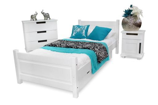 łóżko Drewniane Lena 90x200 Stelaż Materac Spręż