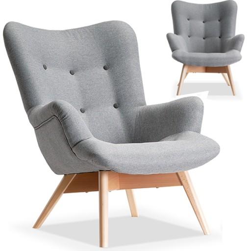 Duży Fotel Skandynawski Pikowany Uszak Flori Szary
