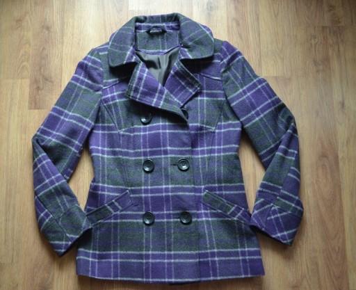 Płaszcz w kratkę fioletowy kurtka M 38 j.NOWY