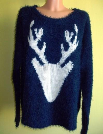 Sweter włochaty granatowy z łosiem TU ( 46 / 48 )