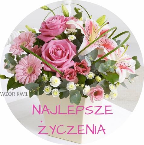 b gruby opŁatek na tort kwiaty urodziny imieniny 7279141695
