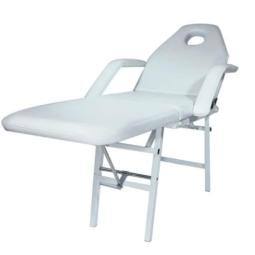 Fotel Kosmetyczny Składany Leżanka Biały Przenośny
