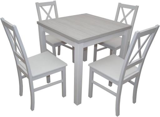 Biały Komplet Stół Krzesła Drewno 6910073018 Allegropl