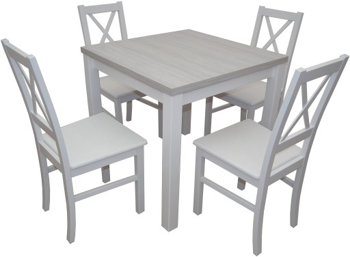 Biały Komplet Stół Krzesła Drewno