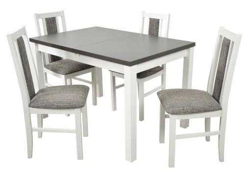 Stół Rozkładany 4 Krzesła Białe Grafit Salon